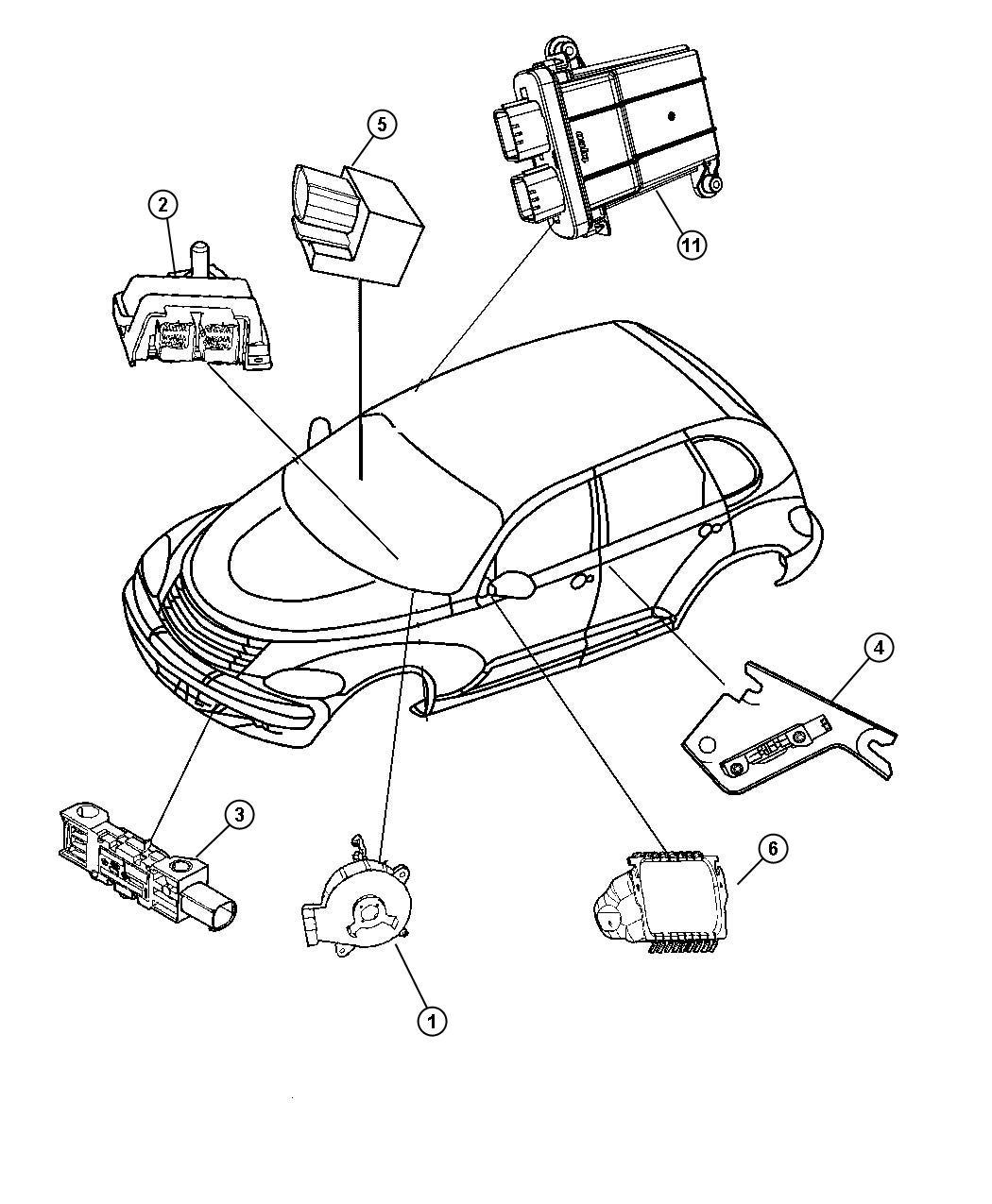 Chrysler Pt Cruiser Air Bag Modules, Impact Sensors and