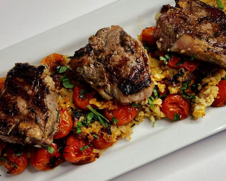 "Grilled Lamb Chops over Oven ""Fried"" Italian Rice"