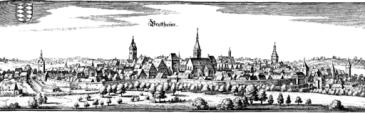 Die Stadt Bretten in Baden-Württemberg 1645 auf einem Kupferstich von Matthäus Merian