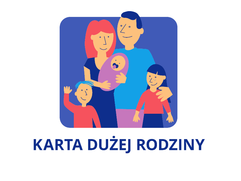 Na zdjęciu rodzina zdziećmi inapis karta dużej rodziny