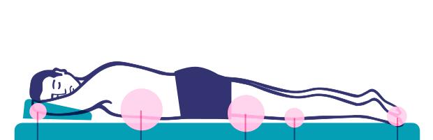 Човек спящ върху матрак в поза по корем