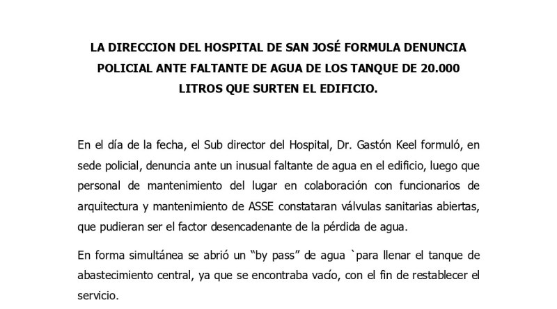 Denuncian falta de agua en el Hospital de San José