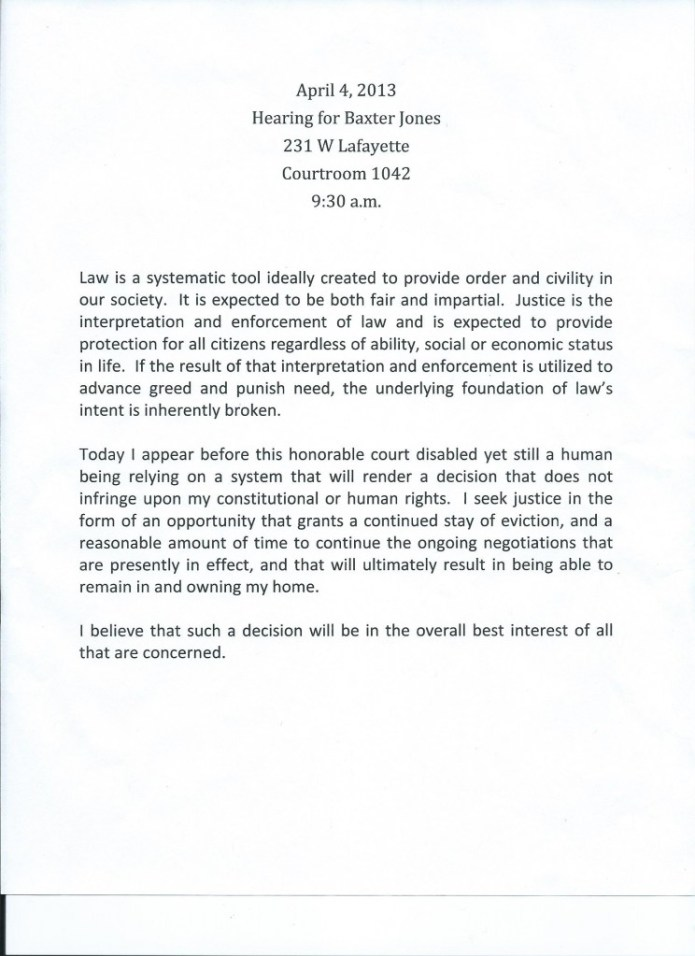Baxter Jones' statement to the court 04-04-2013