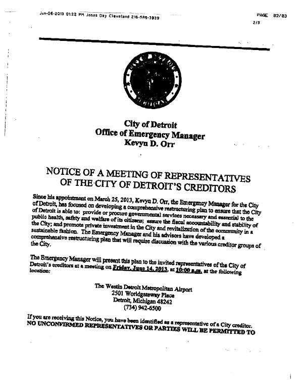 Notice of a Meeting of Representatives of the City of Detroit's Creditors from EM Kevyn Orr