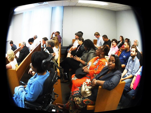 Packed courtroom at S. Baxter Jones eviction hearing on Aug. 8, 2013, in Jackson, MI. (photo: Eric William Shelley)