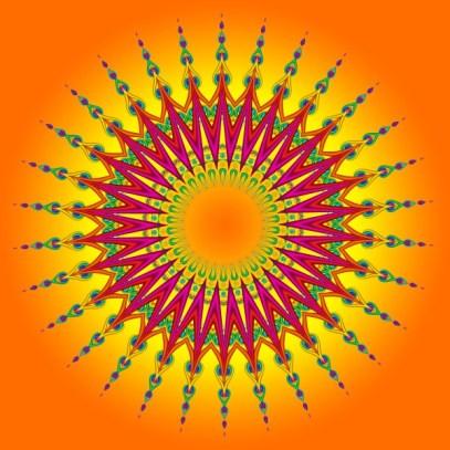 Peacock Sun Fractal Mandala
