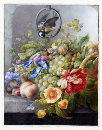 Still Life With Flowers, Fruit, A Great Tit And A Mouse