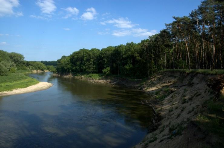 Přírodní památka Osypané břehy. Řeka Morava se zde zakousává do mocných nánosů vátých písků.