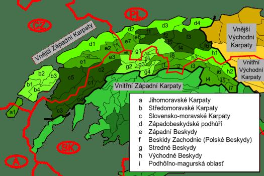 Členění Vnějších Západních Karpat.