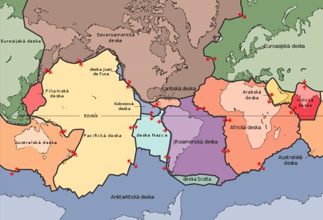 Jednotlivé tektonické desky, které tvoří litosférický obal Země (zdroj: Wikipedie)