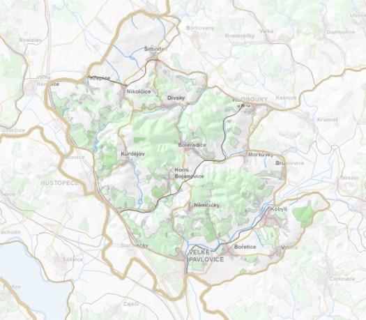 Geomorfologické rozdělení Boleradické vrchoviny.
