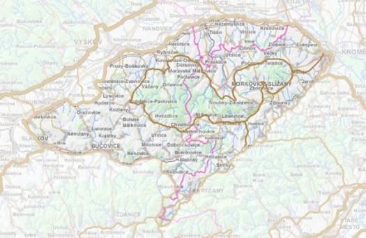 Geomorfologické rozdělení Litenčické pahorkatiny.