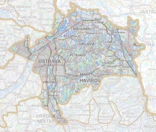 Geomorfologické rozdělení Ostravské pánve.