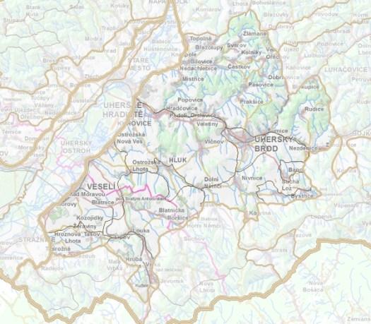Geomorfologické rozdělení Hlucké pahorkatiny.