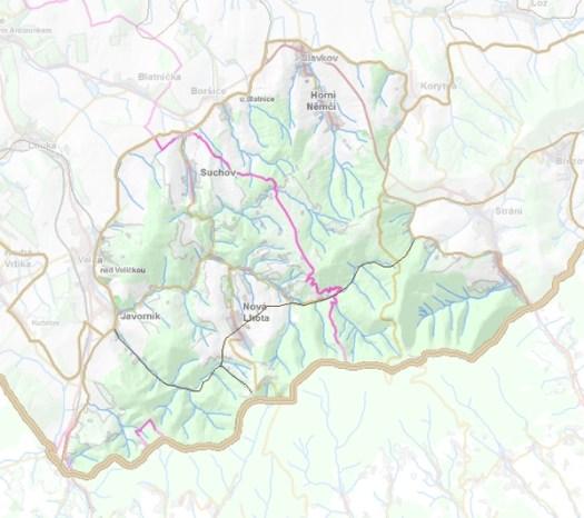 Geomorfologické rozdělení Javořinské hornatiny.