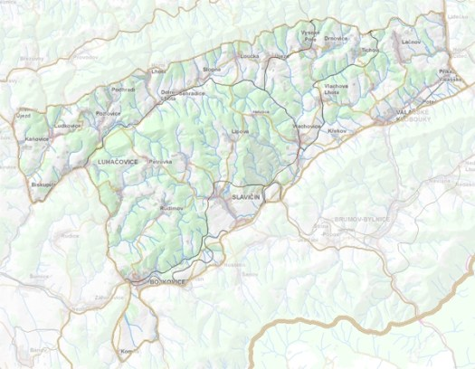 Geomorfologické rozdělení Luhačovické vrchoviny.