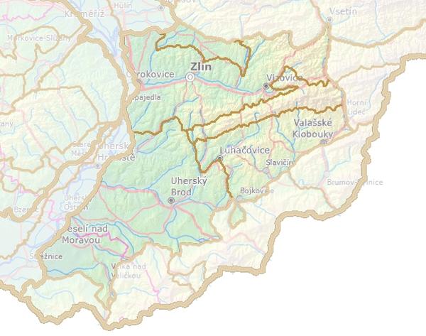 Geomorfologické rozdělení Vizovické vrchoviny.