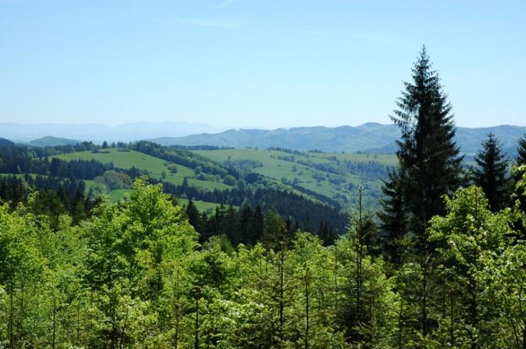 Rázovitá krajina v okolí Valašské Senice. Pohled od Šerklavy, v popředí Obecnice (758 m), v pozadí hřeben Bílých Karpat nad Štěpánem.