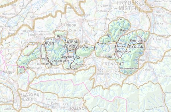 Geomorfologické rozdělení Štramberské vrchoviny.