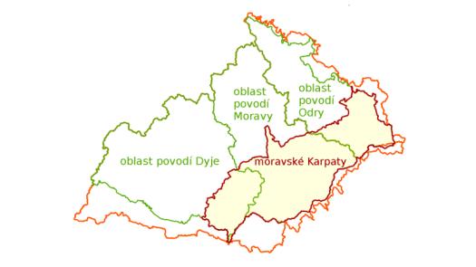 Vymezení oblastí hlavních povodí na území moravských Karpat.
