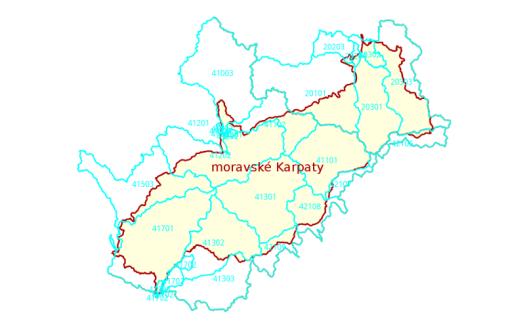 Oblasti povodí III. řádu na území moravských Karpat.