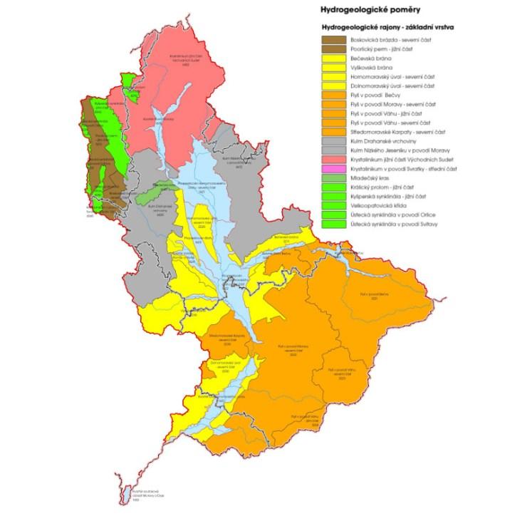 Hydrogeologické poměry povodí Moravy (zdroj: http://www.pmo.cz/pop/2009/Morava/End/a-popis/mapy/ma_1_4.jpg).