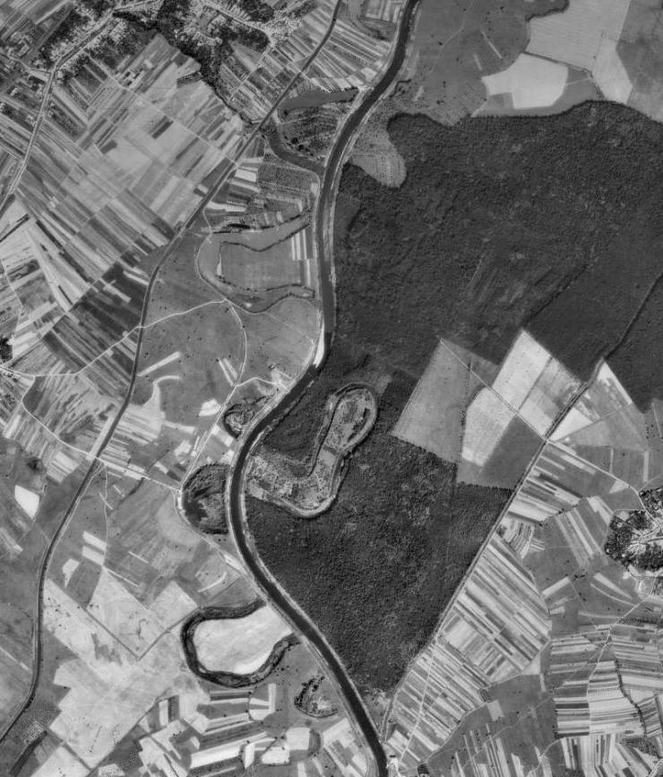 Letecký pohled na slepá ramena řeky Moravy mezi Huštěnovicemi a Jarošovem (50. léta).