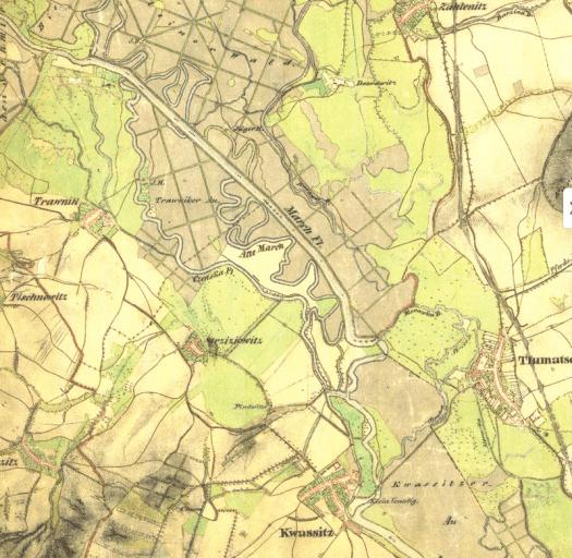 První regulovaný úsek na řece Moravě je zaznamenán na mapách II. vojenského mapování (1836–1840 na Moravě, zdroj: mapy.cz).