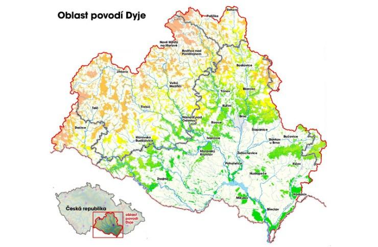 Oblast povodí Dyje (zdroj: http://www.pmo.cz/pop/2009/Dyje/end/a-popis/mapy/ma_1_7a.jpg)