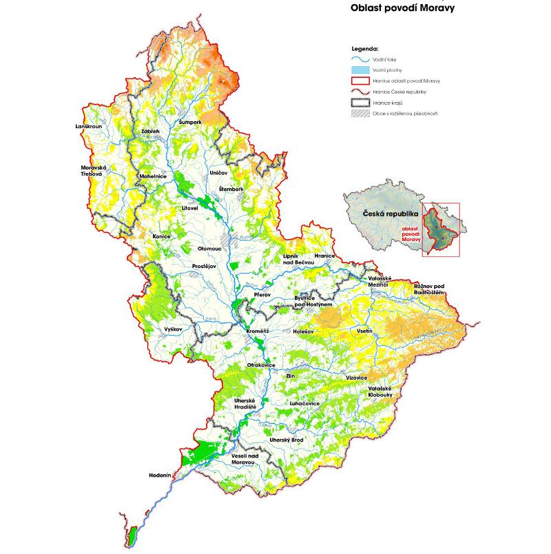 Oblast povodí Moravy (zdroj: http://www.pmo.cz/pop/2009/Morava/End/a-popis/mapy/ma_1_7a.jpg).