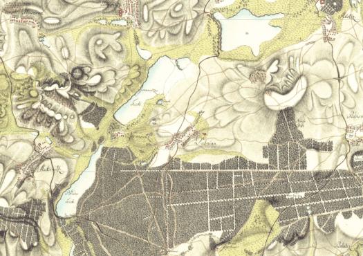 Stav rybníků na řece Kyjovce mezi Miloticemi a Dubňany na mapách I. vojenského mapování, zdroj: http://oldmaps.geolab.cz)