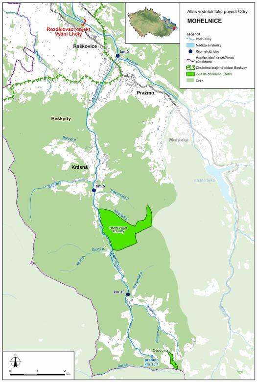 Mapa: tok Mohelnice (zdroj: Atlas hlavních vodních toků povodí Odry, https://www.pod.cz/atlas_toku/mohelnice.html).