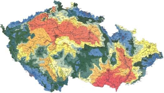 Klimatické oblasti podle Quittovi klasifikace (1971)