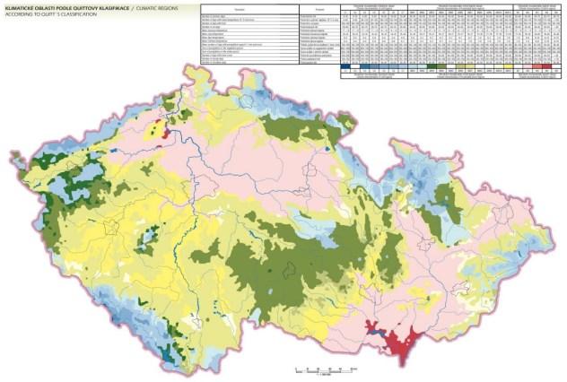 Klimatické oblasti podle Quittovy klasifikace 2000 (Zdroj: Atlas podnebí ČR, Czech Hydrometeorological Institute, Praha; © 2007 Palacký University).