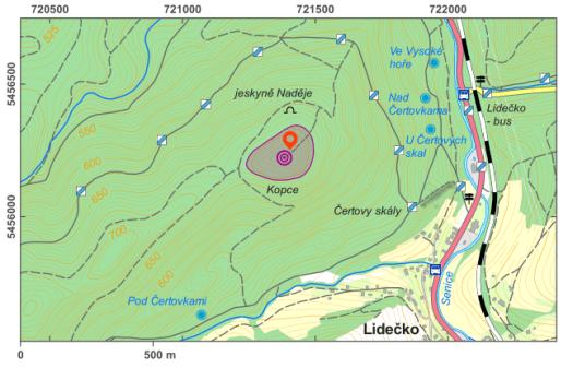Mapa lokality Kopce.
