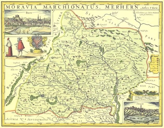 Kaeriova mapa Moravy, vydání odvozené z Fabriciovy mapy, vydáno 1625 (zdroj: http://moravskaorlice.blogspot.com/2014/10/fabriciova-mapa-moravy.html).