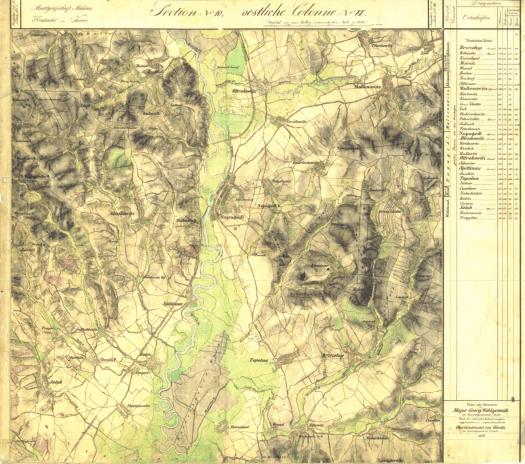 I. vojenské mapování - mapový list Napajedla (zdroj: http://oldmaps.geolab.cz/map_viewer.pl?lang=cs&map_root=2vm&map_region=mo&map_list=O_10_VI).