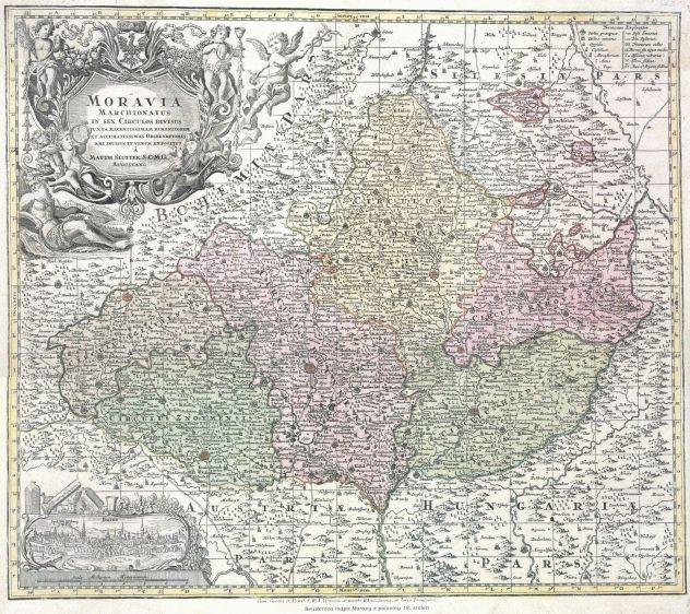 Seutterova mapa Moravy z poloviny 18. století (zdroj: http://www.stmapy.cz/m18h.html).