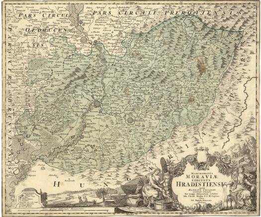 Samostatná mapa Hradišťského okresu vydaná v rámci Müllerovy mapy, vydal Müller, Johann Christoph, Nakladatelské údaje: Noribergae : Editore Ioh. Baptista Homanno, [mezi 1716 a 1724] (zdroj: https://mapy.mzk.cz/ostatni-sbirky-v-mzk/sbirka-starych-map/cesko/).