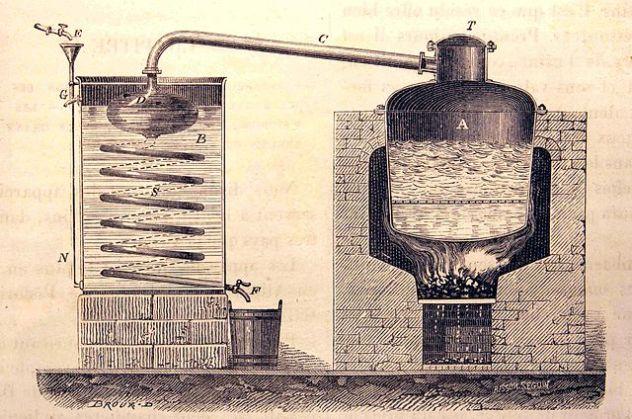 Průmyslový destilační přístroj. Zdroj: https://www.alkoholium.cz/historie-destilace-alkoholu-za-jeji-vynalez-podekujme-arabum/; El Bibliomata [CC BY 2.0], via Wikimedia Commons