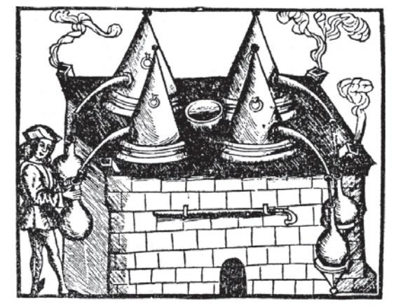 Destilační přístroj z roku 1512.