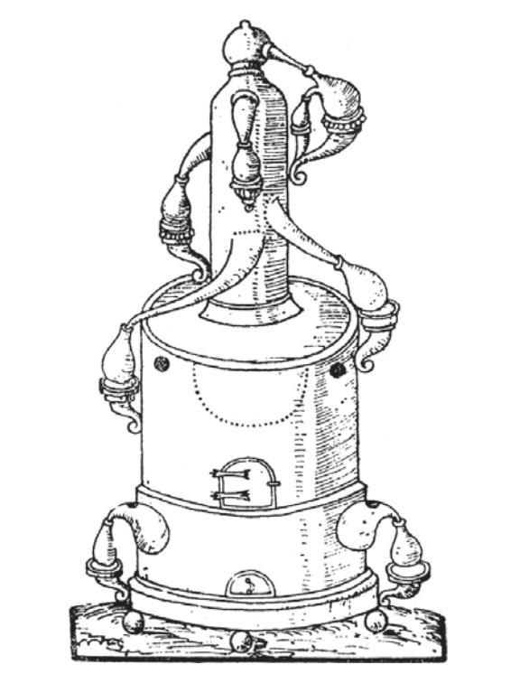 Destilační přístroj z roku 1606.