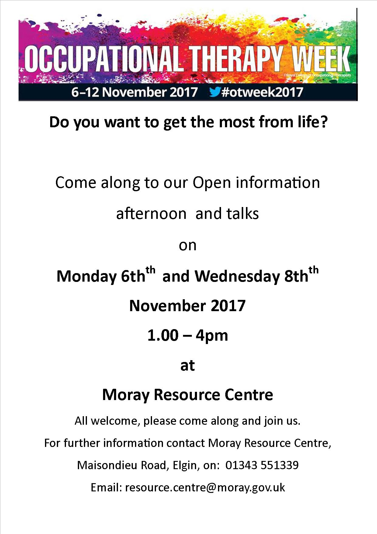 Activity Occupational Therapy Week At Moray Resource Centre