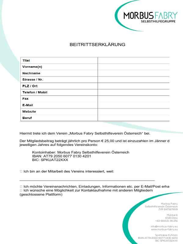 morbus fabry selbsthilfegruppe beitrittserklaerung