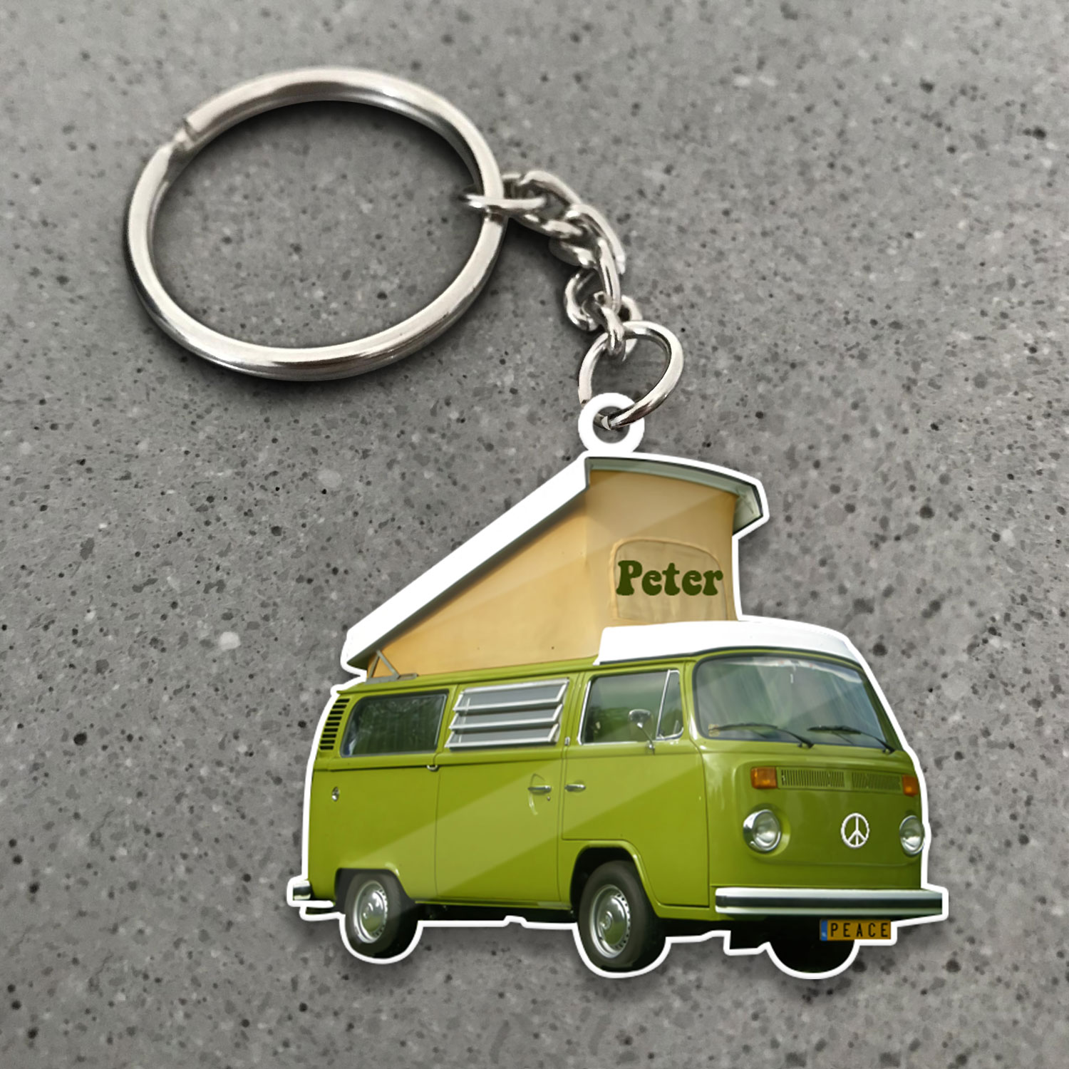 Van Bus Hippie Camping 1 Personalized Wooden Keychain 2 YZC2602101