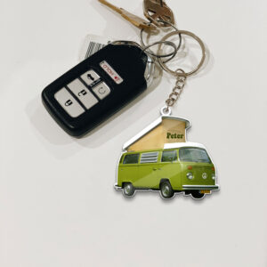 Van Bus Hippie Camping 1 Personalized Wooden Keychain 6 YZC2602101