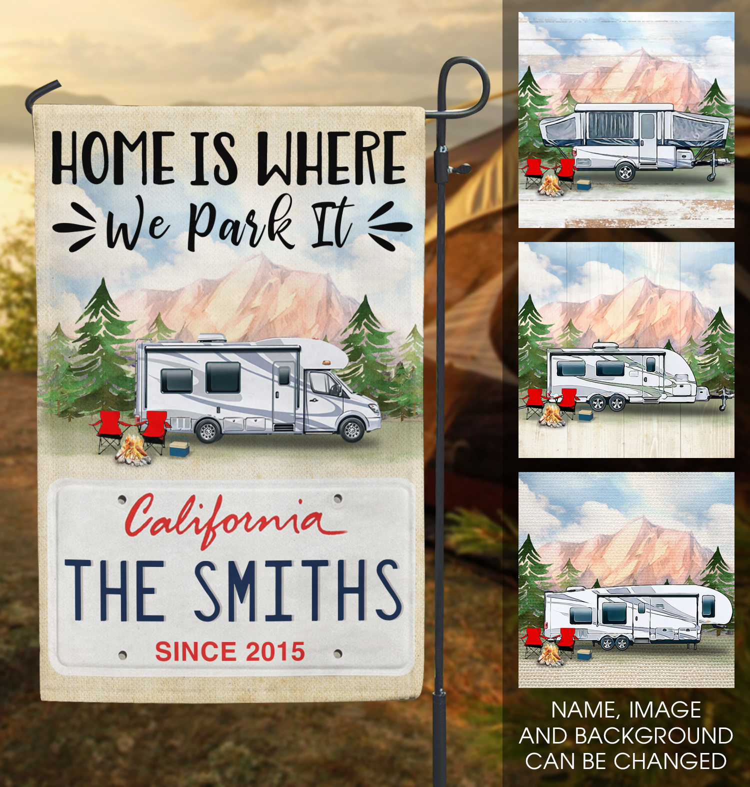 Camping California License Plate Personalized Garden Flag