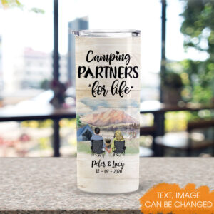 Camping Couple Personalized Skinny Tumbler