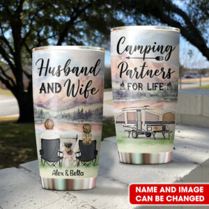 Camping Couple Camping Partners For Life Personalized Stainless Steel Tumbler