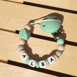 Chupetero personalizado bebé silicona Mordisquitos baby mint silicone teething